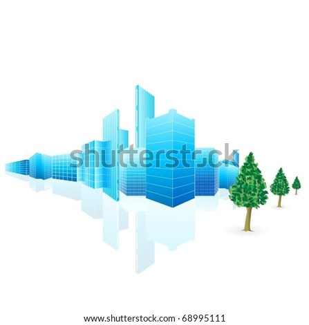 vector city with trees-vector - stock vector