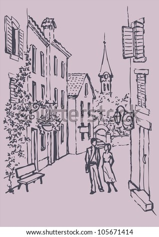 Vector cityscape. Couple in love walking along the narrow old street - stock vector