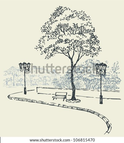 Vector cityscape. Cozy Corner City: a bench under a big tree and lanterns on the sidewalk along the road to the town square near the park - stock vector
