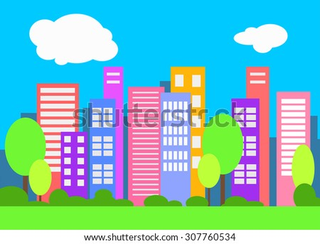 Vector cityscape flat style. Urban vector background. Bright city landscape. - stock vector
