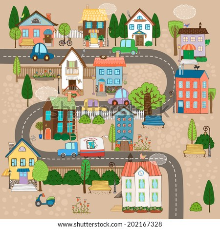 Vector Cityscape Illustration. City or town on road - stock vector