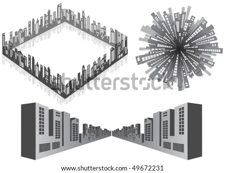 vector Cityscape isolated  elements - stock vector