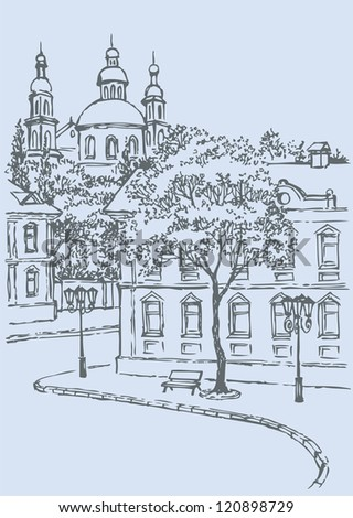 Vector cityscape. Sketch of the street. Bench under a tree and lights along the sidewalk on the background of old houses and the church on the hill