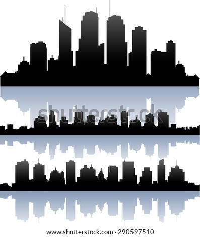 Vector cityscape skyline buidlings silhouette collection - stock vector