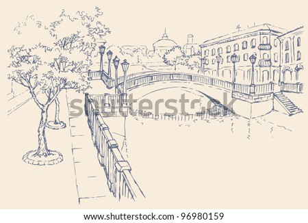 Vector cityscape. The architectural complex of the old city. Classic houses on the river channel and the bridge with lanterns - stock vector