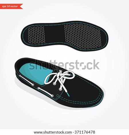 Vector classic black men shoes - stock vector