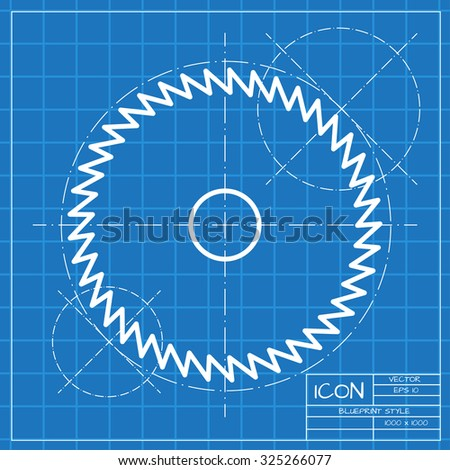 Vector classic blueprint of circular saw icon on engineer and architect background