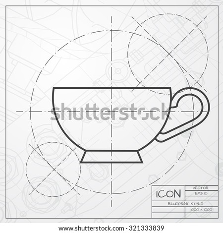 Vector classic blueprint cup tea coffee stock vector hd royalty vector classic blueprint of cup for tea or coffee icon on engineer and architect background malvernweather Images