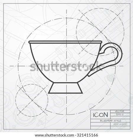 Vector classic blueprint cup tea coffee stock vector 321415166 vector classic blueprint of cup for tea or coffee icon on engineer and architect background malvernweather Choice Image