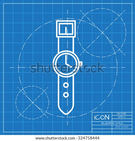 Vector classic blueprint of hand clock icon on engineer and architect background