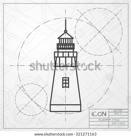 Vector classic blueprint lighthouse icon on stock vector 321271163 vector classic blueprint of lighthouse icon on engineer and architect background malvernweather Images