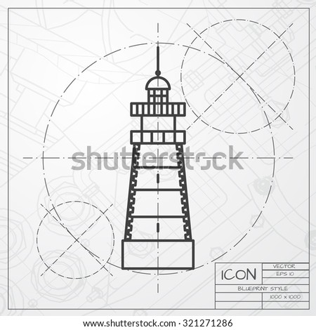 Vector classic blueprint lighthouse icon on stock vector 321271286 vector classic blueprint of lighthouse icon on engineer and architect background malvernweather Image collections