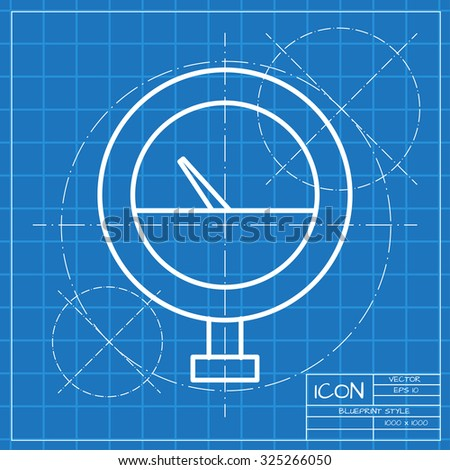 Blueprint ufo technical document drawing alien stock illustration vector classic blueprint of manometer icon on engineer and architect background malvernweather Choice Image