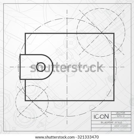 Vector classic blueprint of purse icon on engineer and architect background