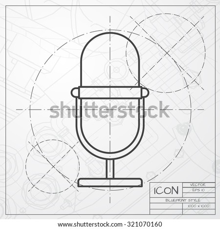 Vector blueprint retro microphone icon on stock vector 676497772 vector classic blueprint of retro microphone icon on engineer and architect background malvernweather Gallery
