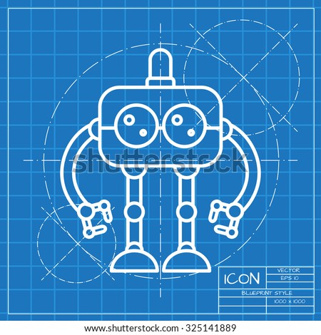 Vector classic blueprint retro robot toy vector de stock325141889 vector classic blueprint of retro robot toy icon on engineer and architect background malvernweather Images