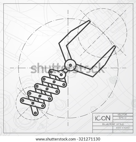 Vector classic blueprint robot hand icon stock vector 321271130 vector classic blueprint of robot hand icon on engineer and architect background malvernweather Images