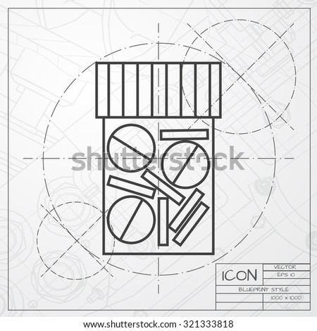 Vector classic blueprint of tablet bottle on engineer and architect background . Health icon  - stock vector