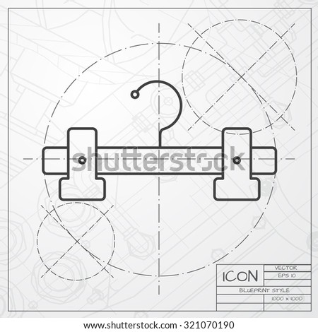 Vector classic blueprint of tailor hanger icon on engineer and architect background