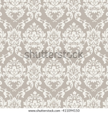Vector Classic Luxury Damask pattern. Luxury floral stylish texture of damask or baroque style. Beige pastel color ornament - stock vector