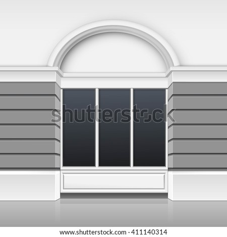 Vector Classic Shop Boutique Building Store Front with Glass Windows Showcase and Place for Name Isolated on White Background - stock vector