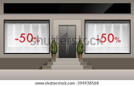 Vector Classic Shop Boutique Building Store Front with Glass Windows Showcase with Backlight, discounts and Place for Name Isolated on White Background - stock vector
