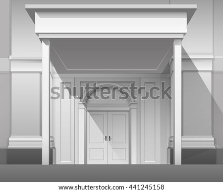 Vector Classic Shop Museum Boutique Building Store Front with Closed Front Door, Columns, Roof  Visor and Place for Name Isolated on White Background - stock vector