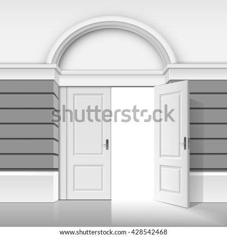 Vector Classic Shop Museum Boutique Building Store Front with Open Front Door and Place for Name Isolated on White Background - stock vector