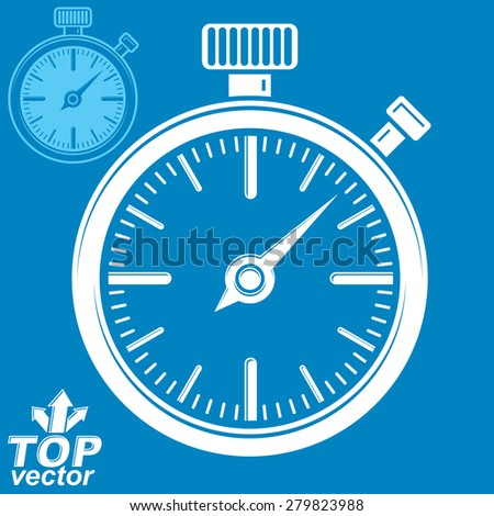 Vector classic stopwatch, includes invert version. Eps 8 highly detailed vector illustration. Pocket watch conceptual symbol. - stock vector