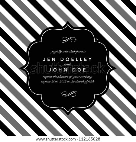 Vector Classic Striped Background and Frame. Easy to edit. Perfect for invitations or announcements. - stock vector