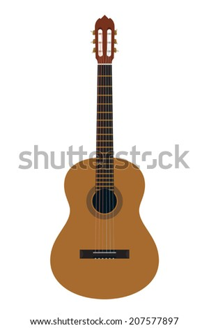 Vector classical acoustic guitar on white background