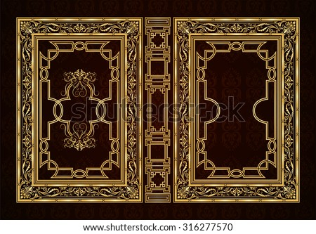 Vector classical book cover. Decorative vintage frame or border to be printed on the covers of books. Drawn by the standard size. Color can be changed in a few mouse clicks - stock vector