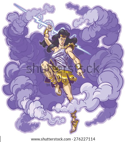 Vector clip art cartoon illustration of an angry female greek or roman thunder goddess or titan mascot, raising aloft a mighty thunderbolt to smite the unworthy. Cloud is on a separate layer. - stock vector