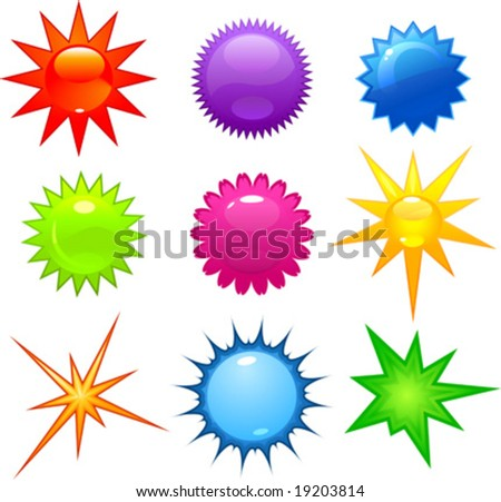 vector clip art illustration of glossy stars and bursts in various colors - stock vector