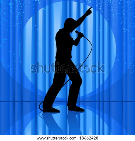 vector clip art illustration of the silhouette of a singer singing to a microphone and pointing up, on theatrical stage, with curtains, spotlight and stars - stock vector