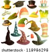 Vector clip art illustrations of hats and caps isolated on white background. Scratches can be easily removed - stock vector