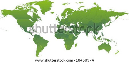Vector clip art map of an ecological green atlas of the world, with all countries and borders showing. Reference source: http://www.lib.utexas.edu/maps/ - stock vector