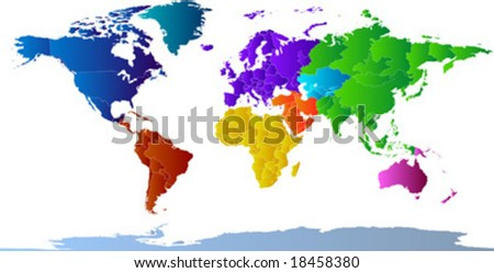 Vector clip art map of the world, with all countries and borders showing. Continents are distinctively colored. Antarctica is included. Reference source: http://www.lib.utexas.edu/maps/ - stock vector
