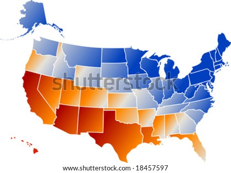 Vector Clip Art Map United States Stock Vector 18457591 - Shutterstock