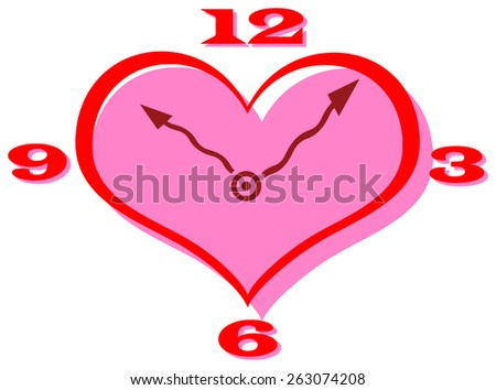 Vector clip art of a heart shape clock with curly hands - stock vector