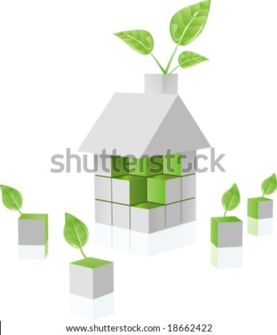 vector clip art of environmental green puzzle house built out of cubes ecology blocks, growing fresh green leaf - stock vector