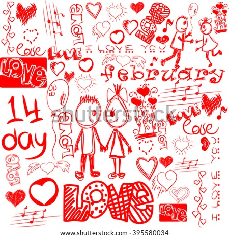 Vector clip-art on the theme of Valentine's Day. - stock vector