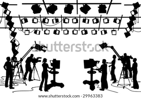 Vector clip art set of TV channel studio crew, including cameras, lights, camera men, technicians and recordist - stock vector