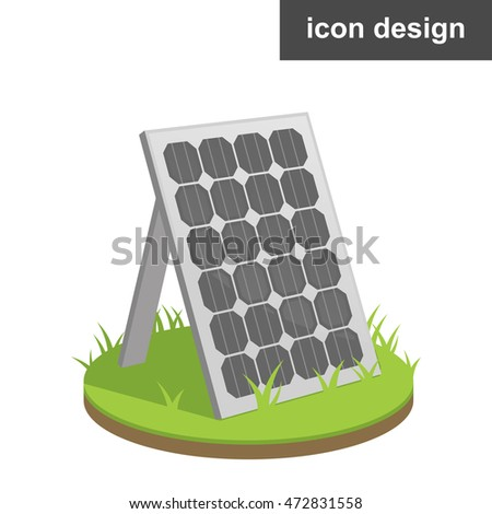 Vector clipart icon of solar panel at grass