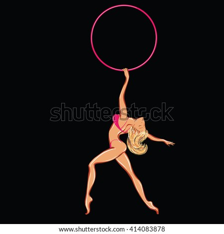 Vector clipart of a naked dancing stripper with a hoop - stock vector