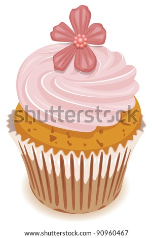vector clipart of pink cupcake with a flower