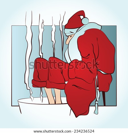 Vector clipart - Santa warms frozen feet in hot water
