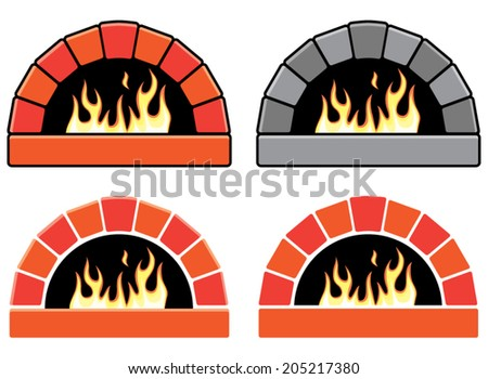 vector clipart set of ovens with burning fire  - stock vector