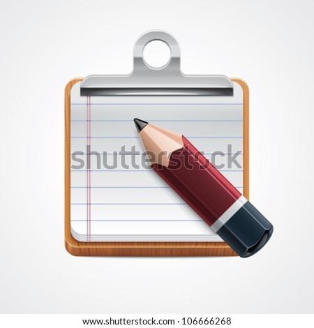 Vector clipboard and pencil icon - stock vector