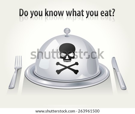 Vector Cloche, Fork and Knife with Skull & Crossbones - stock vector